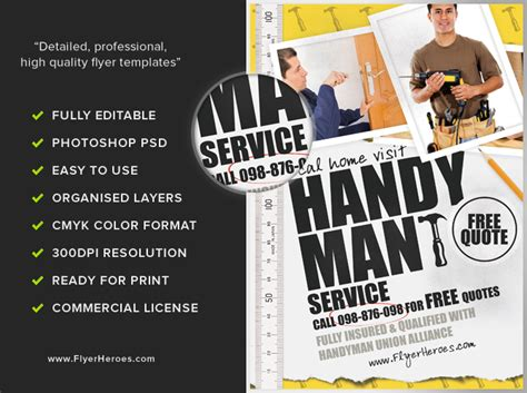 free templates for handyman flyers handyman flyer template flyerheroes