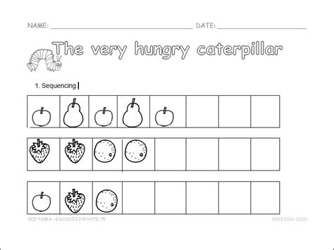 sequencing the very hungry caterpillar