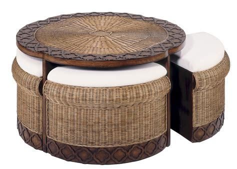 table with ottomans wicker coffee table design images photos pictures