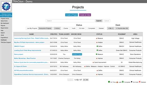 project tracking and management for lean six sigma traction 174