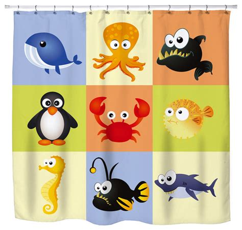 kids beach shower curtain eco friendly quot beach animals quot kids beach shower curtain