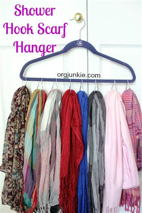 organize your scarves hats with shower hooks day 22