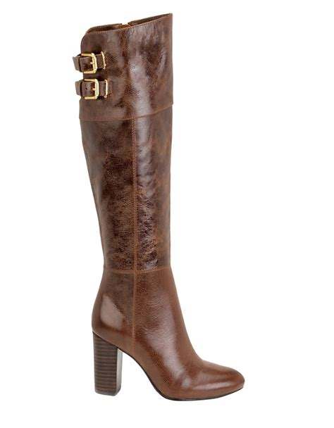 knee high brown boots isola cerelia knee high leather boots in brown lyst