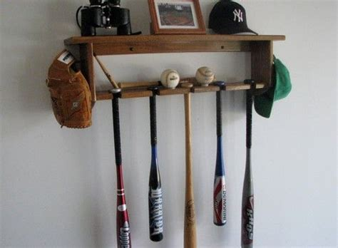 decorative oak wall shelf with baseball bat rack display 5