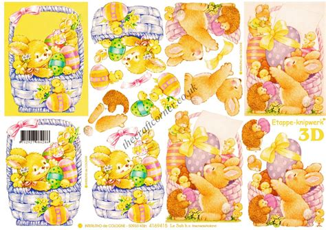 Easter Decoupage - bunny with a basket of easter eggs 3d decoupage sheet from