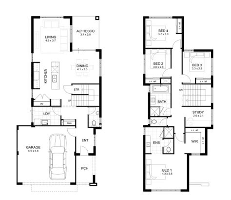 4 Bedroom 2 Storey House Plans by Wonderful Storey 4 Bedroom House Designs Perth Apg