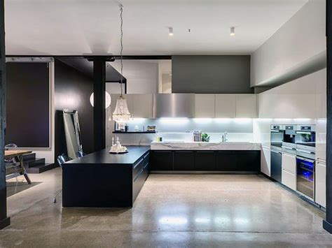 concrete floor apartment concrete kitchens black kitchen countertop with polished