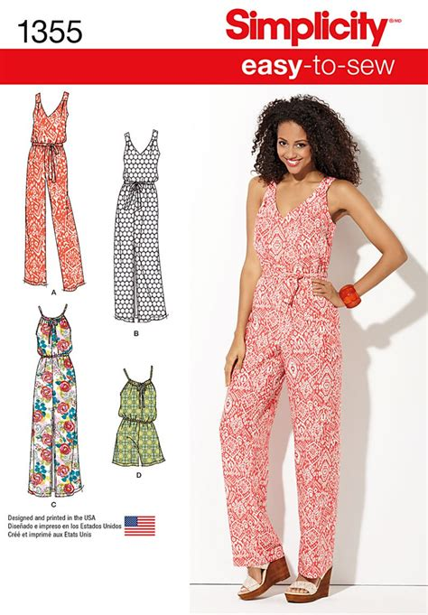 pattern jumpsuit shorts simplicity 1355 misses maxi dress and long or short jumpsuit