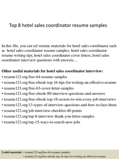 top 8 hotel sales coordinator resume sles