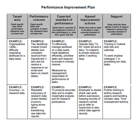 performance improvement project template performance improvement plan template performance