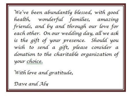 invitation wording no gifts donation amazing ebookzdb