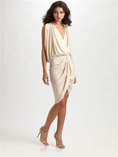 gold draped dress haute hippie draped wrap dress in gold chagne lyst