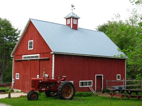 red barn panoramio photo of red barn with old tractor