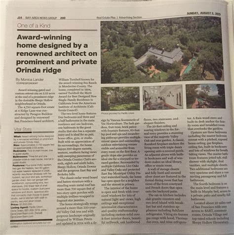 sunday times real estate section orinda ca real estate news 4 ridge lane featured in