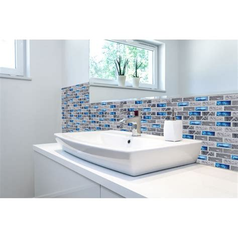 blue mosaic tile backsplash tst glass tiles black grey squared grid marble