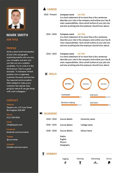 template cv video free downloadable cv template exles career advice how