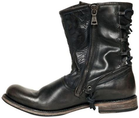 varvatos 20mm lace up leather pirate boots in black