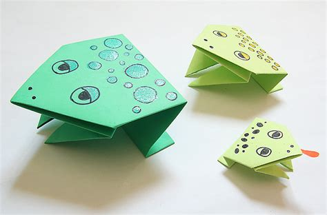 Hopping Origami Frog - passover on crafts for crafts and sun