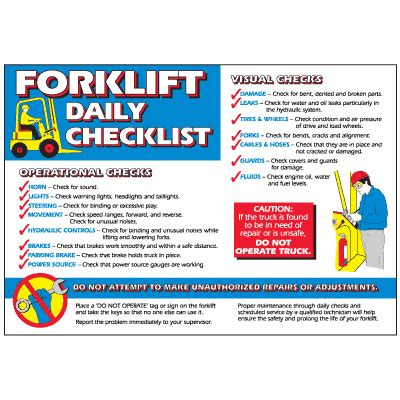 forklift workplace safety wallchart seton