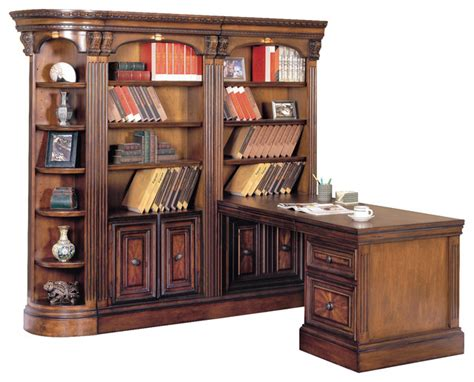 corner desk with bookcase huntington corner bookcase wall with peninsula desk in vintage pecan traditional bookcases