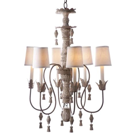 Chandler French Country Aged Cream Distressed 6 Light Distressed Chandeliers