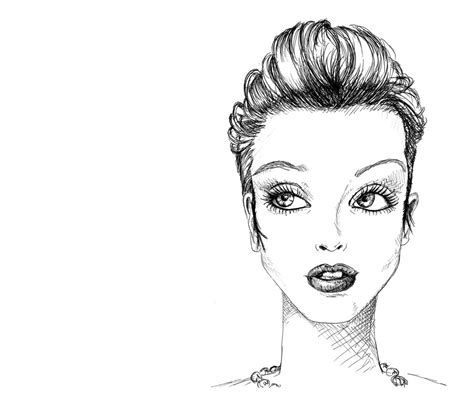 fashion illustration drawing faces to the left slightly open curved slope on