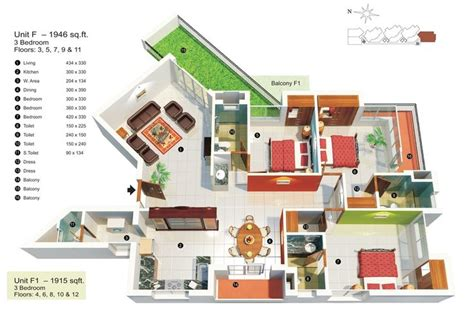 Square Footage Visualizer | 17 best images about 50 three 3 bedroom apartment house
