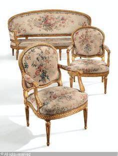 ottomane louis xv a blue and painted set of seat furniture comprising