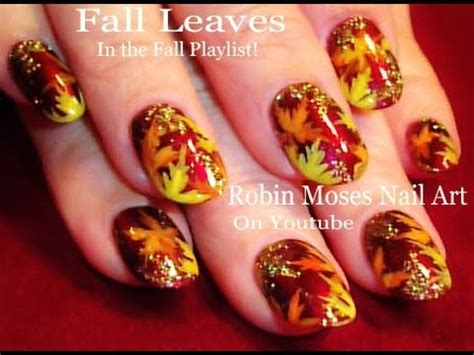 easy nail art leaf holo glitter fall leaf nails diy easy autumn leaves nail