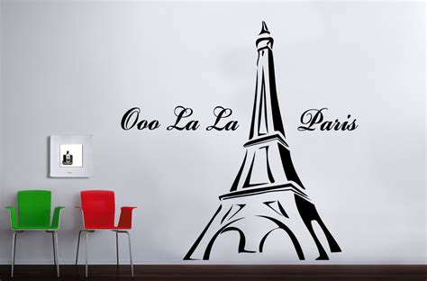Bedroom Paint Designs Paris France Eiffel Tower Vinyl Bedroom Wall Art
