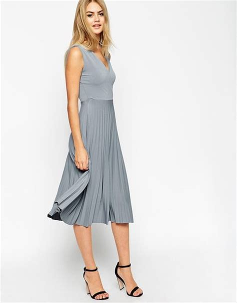 asos midi dress with wrap front and pleated skirt in blue