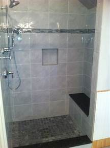 new shower stall with built in bench for the home