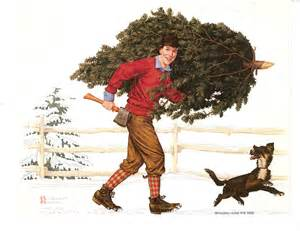 bringing home the tree norman rockwell art pinterest