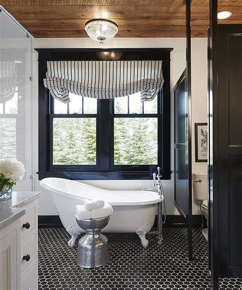 black white hex tile bathroom floor transitional