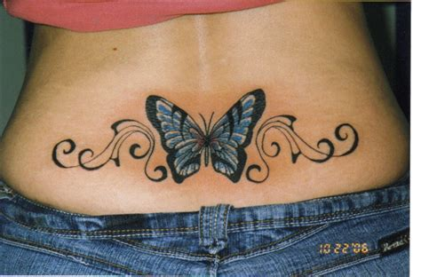 tribal butterfly tattoos on back lower back tattoos images femalecelebrity