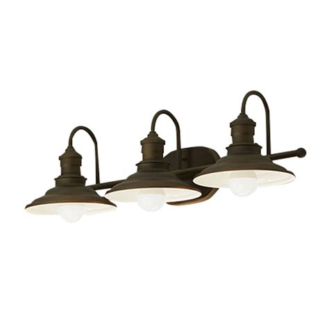 bathroom light fixtures canada shop allen roth hainsbrook 3 light 7 48 in aged bronze