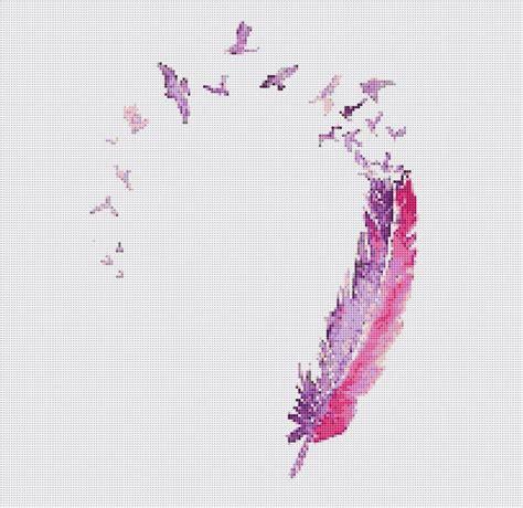 01a7ccrcarnations Pattern Stitching Design Pink pink feather digital cross stitch pattern by abundantcreativity cross stitch