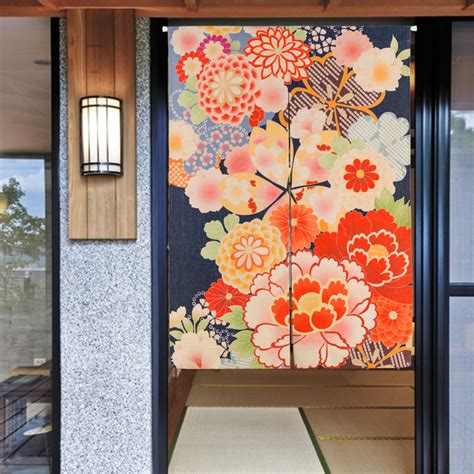 door tapestry curtains home decor japanese style flowers landscape pattern 3061
