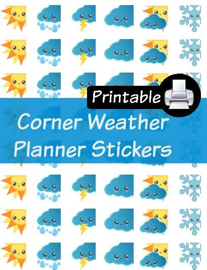 printable weather stickers weather tracker corners pdf printable planner stickers happy