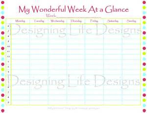 Week At A Glance Template by Free Printable Week At A Glance Template Calendar