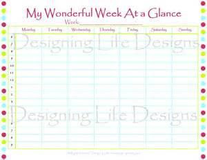 week at a glance calendar template printable week at a glance