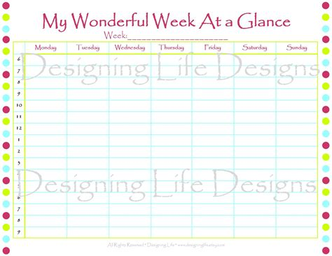 week at a glance template week at a glance printable calendar template 2016