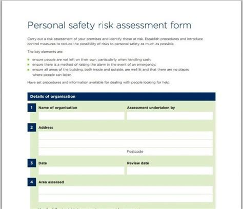 building security risk assessment template personal safety risk assessment form national churches trust
