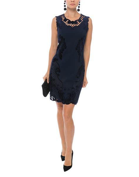 Ws Size 6 27rb Spandex Rayon navy velvet lace trimmed knit dress kobi halperin halsbrook