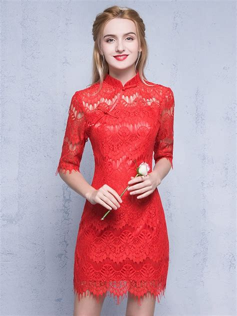 Sleeve Lace Qipao half sleeves qipao cheongsam dress in lace cozyladywear