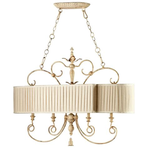 Country Island Lighting Maison Country Antique White 4 Light Island Chandelier Kathy Kuo Home