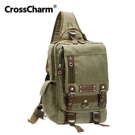 Bag Choco Sling Bag Rawis cross charm fashion sling chest pack shoulder backpack canvas leather bag for a4 satchel