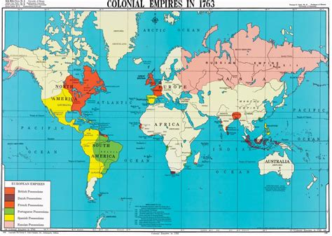 map world empires colonial empires in 1763 world history map