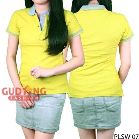 Kaos Wanita Hijau kaos polo kerah wanita cotton pique hijau alpukat kerah abu plsw 07 gudang fashion