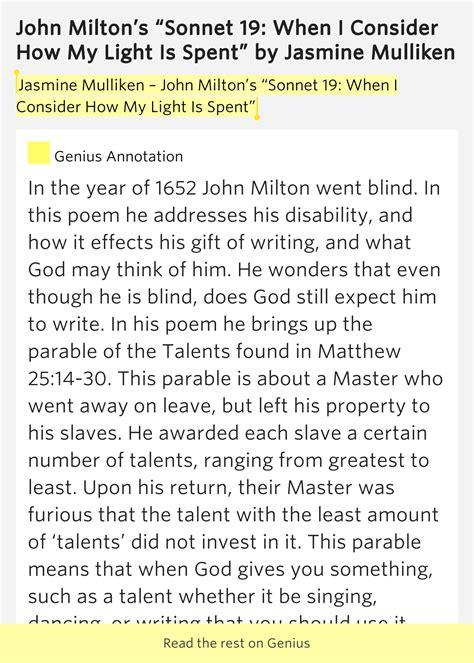 When I Consider How Light Is Spent Meaning mulliken milton s sonnet 19 when i